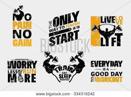 Everyday No Pain No Gain Workout Poster Set Vector Illustration. Gym Motivational Template With Barb