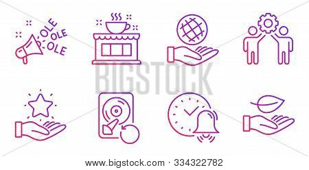 Alarm Bell, Recovery Hdd And Employees Teamwork Line Icons Set. Loyalty Program, Ole Chant And Coffe