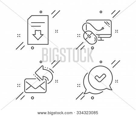 Share Mail, Computer Mouse And Download File Line Icons Set. Approved Sign. New E-mail, Pc Component