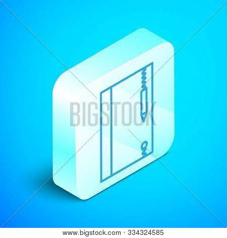 Isometric Line Underwater Note Book And Pencil For Snorkeling Icon Isolated On Blue Background. Wate