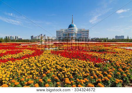 Nur-Sultan, Kazakhstan - April 24, 2019: The Ak Orda Presidential Palace, Astana, Kazakhstan
