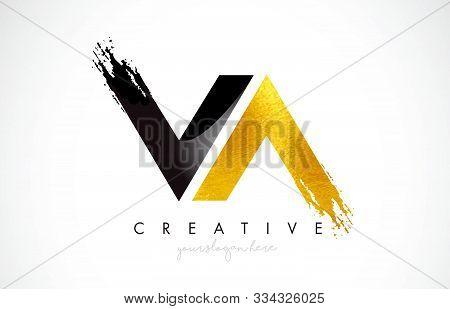 Va Letter Design With Brush Stroke And Modern 3d Look Vector Illustration.