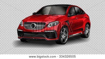 Berlin, August 29, 2018: Red Vector Mercedes-benz. Vector Illustration On Transparent Background, Ra