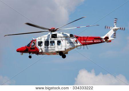 Fairford / United Kingdom - July 12, 2018: Hm Coastguard Agustawestland Aw-189 G-mcgw Search And Res