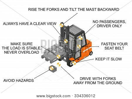 Forklift Safe Drive. Infographic With Tips For Safe Forklift Driving. Flat Vector.