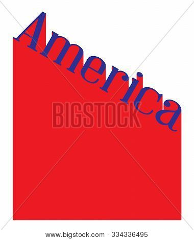Text In Red White And Blue Proclaiming America With A Shadow Backdrop