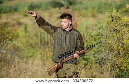 Look There. Noticed Game. Man Brutal Unshaved Gamekeeper Nature Background. Hunting Permit. Hunting