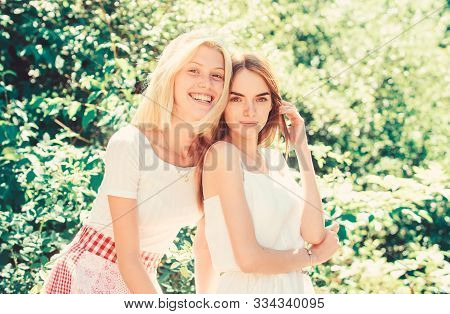Girls Friends Nature Background. Friendly Close Relations. Revelation And Sincerity. Trustful Friend