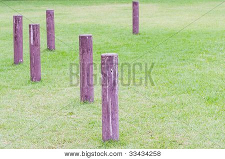 Timbers are arranged on the grass