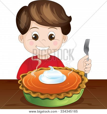 Illustration Of A Young Boy Holding A Fork In Front Of A Pumpkin Pie
