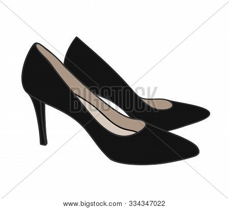 A High-heeled Black Court Shoe Top View Cartoon Style Illustration