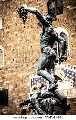 Perseus with the Head of Medusa is a bronze sculpture made 1545-1554 by Benvenuto Cellini, located under Loggia dei Lanzi in Florence poster