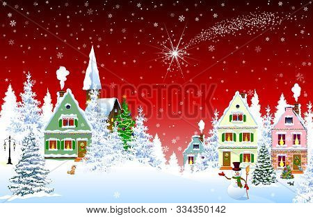 Houses, Village, Church, Forest, Trees. Christmas Star Over The Village. Winter Rural Landscape. Chr