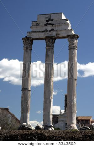 Ruins of an ancient Roman forum travel famous temple poster