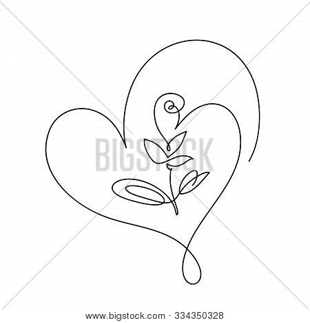 Continuous Line Hand Drawing Calligraphic Vector Flower With Heart. Concept Logo Beauty. Monoline Sp