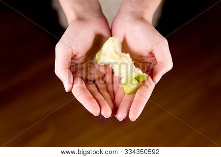 The Apple Core Lies On The Open Palms Of A Woman, Close Up