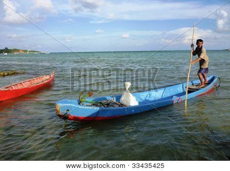 rowing a sampan