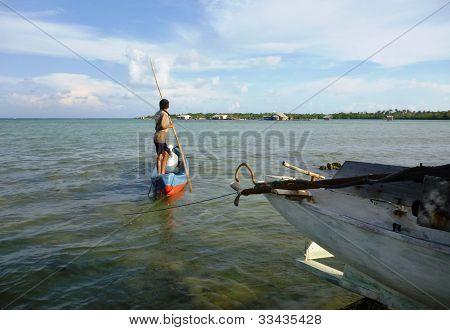 rowing a sampan boat