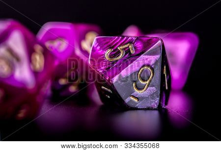 Closeup On Set Of Dice For Role Playing Games, Black Background
