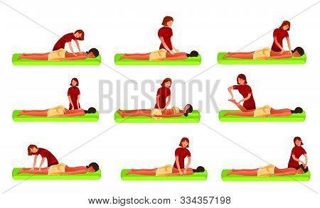 Set Of Women Masseurs Making Massage For Girl Vector Illustration