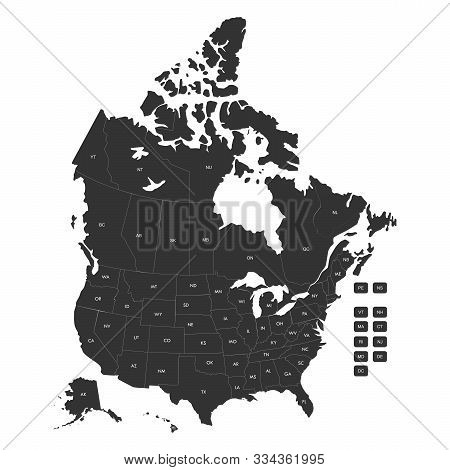 Regional Map Of Usa States And Canada Provinces Wtih Labels Vector Illustration. Gray Background.