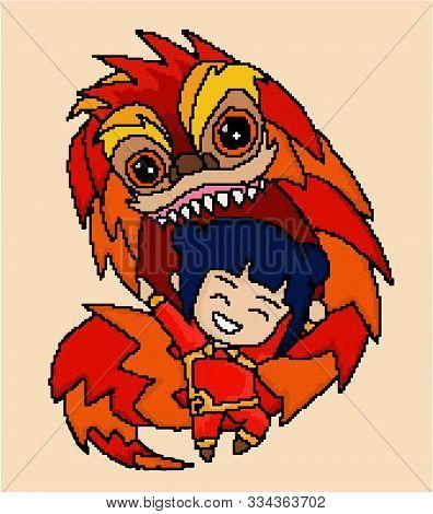 Chine Dragon Dance Colorfull Cute Smile Girl