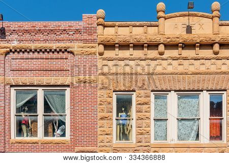 poster of Close up of historic buildings in the center of Deadwood, South Dakota, USA (National historical landmark)