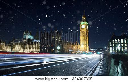 Big Ben with fireworks - celebrating the New Year in London