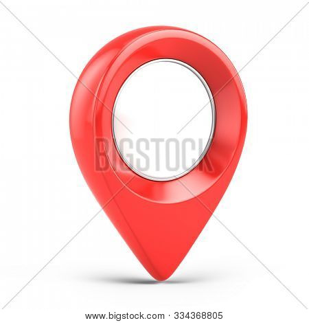 Red glossy map pointer - 3d location icon isolated on white. 3d rendering