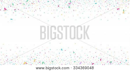 Abstract Flying Confetti. Falling Confetti Background. Random Glitter Shine On A White Background. S