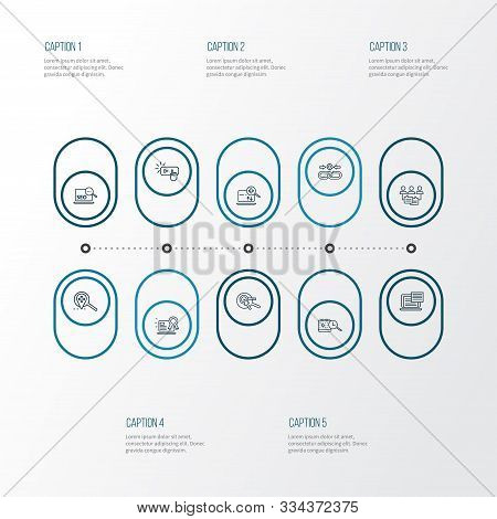 Engine Icons Line Style Set With Subscribe, Keyword Research, Audience Engagement And Other Setting