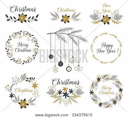 Christmas Wreath With Black And Gold Branches, Berries, Cones. Hand Drawn Design Elements. Merry Chr