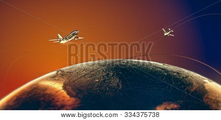Golden Airplanes Fligh Around The World Above Metal Earth In Colorful Orange-blue Skies On Golden Tr