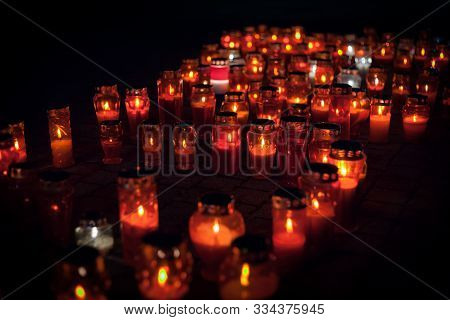 Many Burning Lanterns In Memory Of The Fall Of Vukovar In The War. Feeling Of Sadness, Pain And Suff
