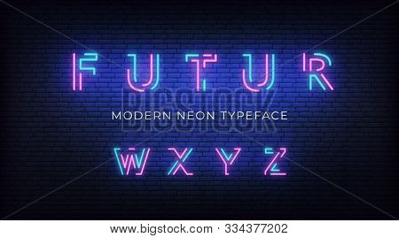 Neon Light Alphabet Font. Glowing Neon Illuminated 3d Modern Typeface. Letters W, X, Y, Z