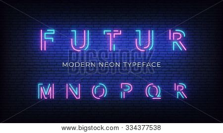 Neon Light Alphabet Font. Glowing Neon Illuminated 3d Modern Typeface. Letters M, N , O, P, Q, R