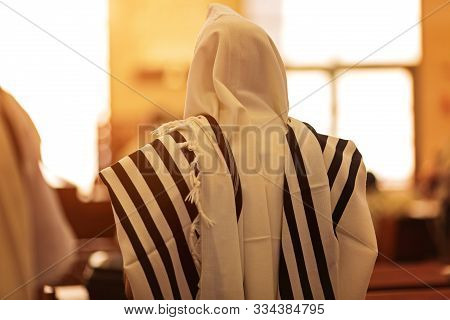 Orthodox Ultra Orthodox Jew From A Tallit In The Synagogue Yom Kippur, Sukkot