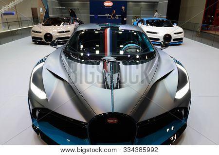 Dubai, Uae - November 16: The Bugatti Divo And Chiron Sportscars Are On Dubai Motor Show 2019 On Nov