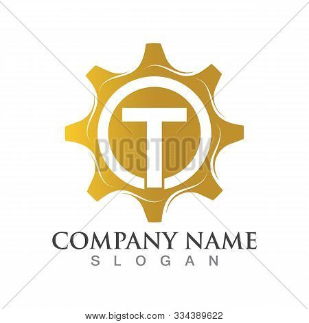 T Letter Logo Or Symbol Creative Gear Template