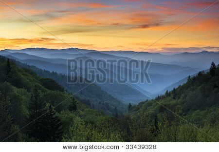 Great Smoky Mountains National Park Sunrise Landscape Gatlinburg Tn