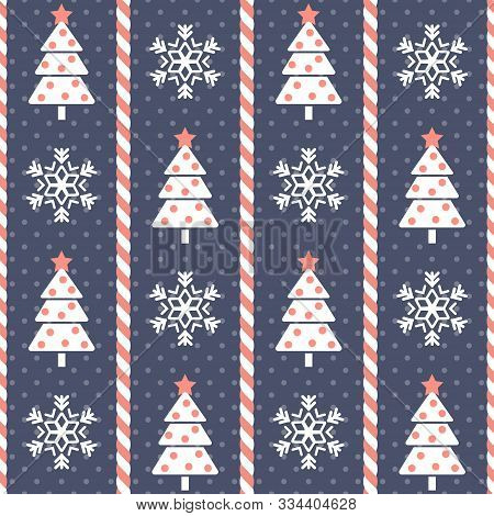 Christmas Pattern. Seamless Vector Illustration With Stylized Christmas Trees, Snowflakes And Candy