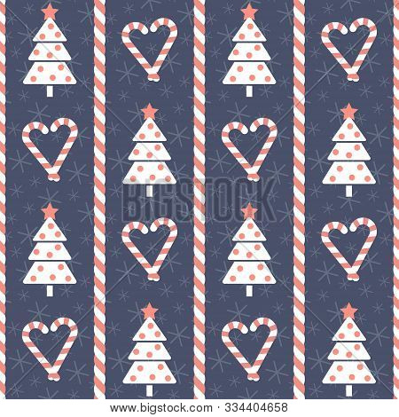 Christmas Pattern. Seamless Vector Illustration With Stylized Christmas Trees And Heart-shaped Candi