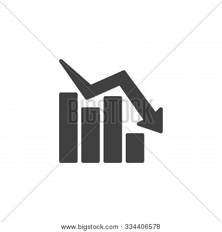 Declining Graph Vector Icon. Business Decline Chart Filled Flat Sign For Mobile Concept And Web Desi