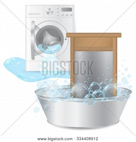 Realistic Ribbed Hand Washboard In Metal Basin With Soap Bubbles On Background Broken Washing-machin