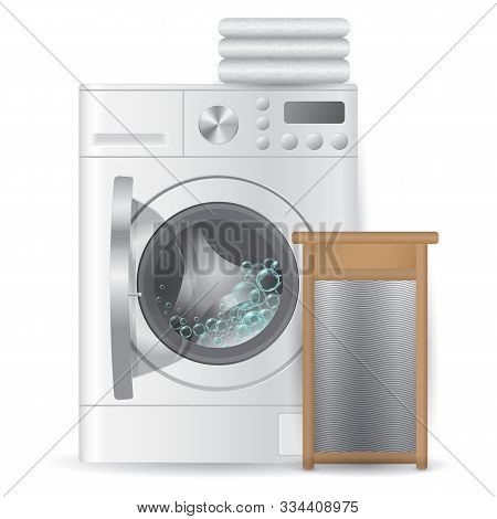 Realistic Automatic Open Washing-machine With Pile Bright Towels And Ribbed Hand Washboard Isolated