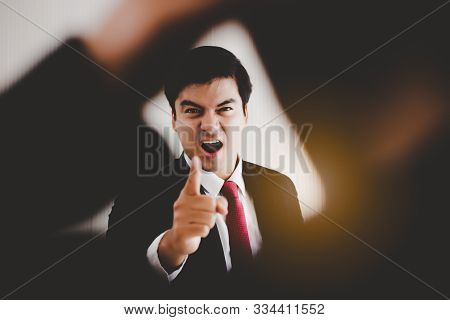 Angry Boss Get Frustrated, Yelling, Reprimanding To Employee, Worker That Worker Mistake Important D