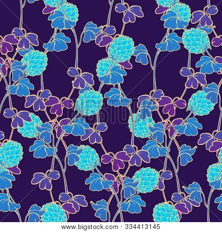 Neon Clover Field Seamless Pattern. Cool Psychodelic Turquoise Purple Gamma. St. Patricks Unconventi