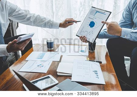 Business Team Partner On Meeting Brainstorming In Investment Ideas Marketing Planning Project And Pr