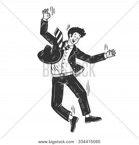 Optimistic Suicide Businessman Falling From Skyscraper Sketch Engraving Vector Illustration. T-shirt