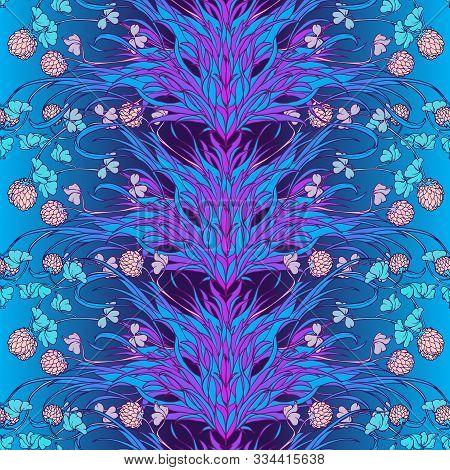 Neon Clover Field Seamless Pattern. Cool Psychodelic Turquoise Violet Gamma. St. Patricks Unconventi
